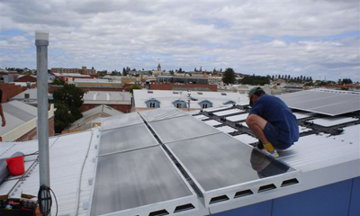 Steve Lucks installing a solar system in Perth